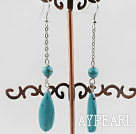 Lovely Long Chain Loop Style Round And Drop Shape Blue Turquoise Earrings With Fish Hook