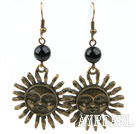 Vintage Style Black Agate Earrings with Bronze Sun Shape Accessories