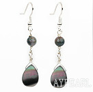 india agate black lip shell earrings