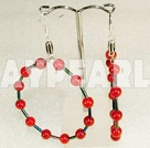Grand Large Diameter Loops Red Bloodstone Hoop Earrings With Fish Hook