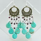 Nice Vintage Style Garnet And Blue Teardrop Turquoise Dangle Earrings With Bronze Loop Charm