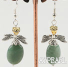 Lovely Oval Aventurine And Yellow Crystal Butterfly Charm Dangle Earrings