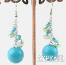 Nice Blue Series Round Turquoise And Freshwater Pearl Loop Dangle Earrings With Fish Hook