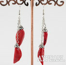 Fashion Red Pepper Coral Dangle Earrings With Fish Hook