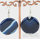 Large 18Mm Blue Lined Agate And Silver Metal Bead Dangle Earrings