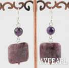 Fashion Round Amethyst And Purple Jade Sqaure Stone Dangle Earrings With Fish Hook