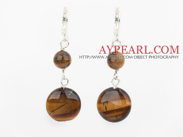 Lovely Flat Round Tiger Eye Loop Dangle Earrings With Lever Back Hook