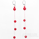 Wholesale dangling style red ball coral earrigns