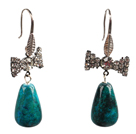 Lovely Fashion Style Drop Shape Phoenix Stone Dangle Earrings With Rhinestone Bow