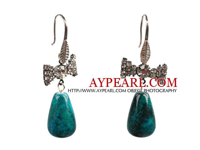 Lovely Fashion Style Drop Shape Phoenix Stone Dangle Earrings With Rhinestone Bow