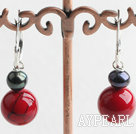 Lovely Short Style Black Pearl And Round Red Bloodstone Drop Earrings With Ear Hoops