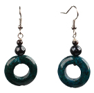 Simple Round Burst Pattern Blue Turquoise Dangle Earrings With Hook Earwires