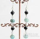 Nice Long Style Black Crystal And Blue Jade Loop Dangle Earrings With Fish Hook