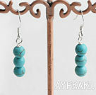 Lovely Simple Style Round Blue Turquoise Dangle Earrings With Fish Hook