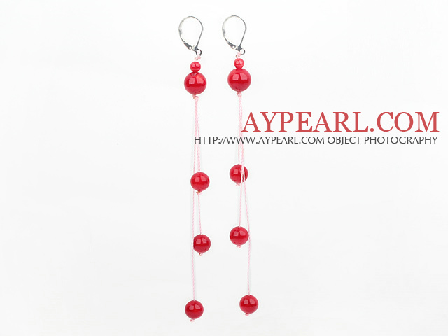 Lovely Long Threaded Round Red Coral Ball Dangle Earrigns With Lever Back Hook