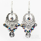 Nice Sparkle Bright Color Crystal And Loop Metal Charm Dangle Earrings With Fish Hook