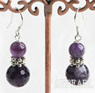 Fashion Amethyst Ball Metal Charm Dangle Earrings With Fish Hook