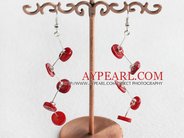 Fashion Disc Shape Red Coral Charm Earrings With Fish Hook