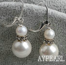 Lovely White Freshwater Pearl And Sea Shell Bead Metal Charm Earrings With Lever Back Hook