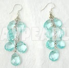 Wholesale Fashion Cluster Style Aquamarine Blue Loop Chain Dangle Earrings With Fish Hook