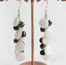 Fashion Black Freshwater Pearl And Disc Shell Cluster Earrings With Fish Hook
