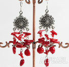 Vintage Long Style Red Coral Dangle Earrings With Fish Hook