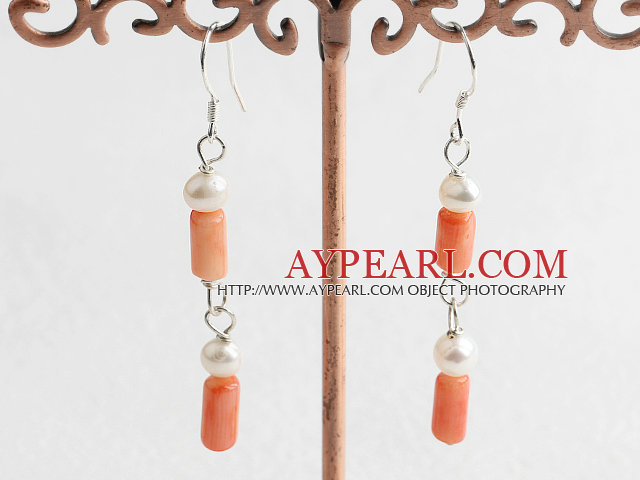 Lovely White Freshwater Pearl And Cylinder Shape Coral Loop Dangle Earrings With Fish Hook