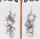 Wholesale Natural Purple Fresh Water Pearl Cluster Earrings With Fish Hook