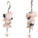 Beautiful Fashion Cluster Shape Pearl Crystal And Rose Quartz Dangle Earrings