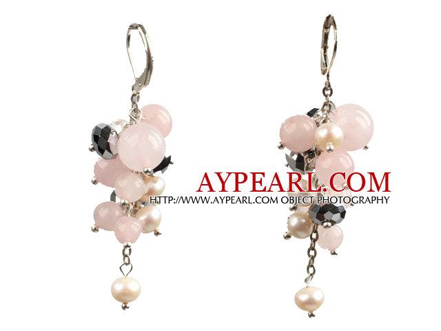 Beautiful Fashion Cluster Shape Pearl Crystal And Rose Quartz Dangle Earrings