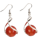 Fashion Design Faceted Red Agate Beads Spiral Shape Dangle Earrings
