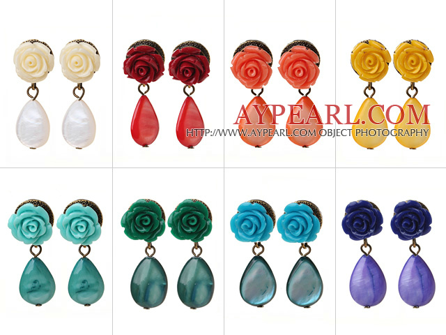 8 Pairs Hipanema Summer Design Multi Color Drop Shape Shell Resin Flower Stud Earrings