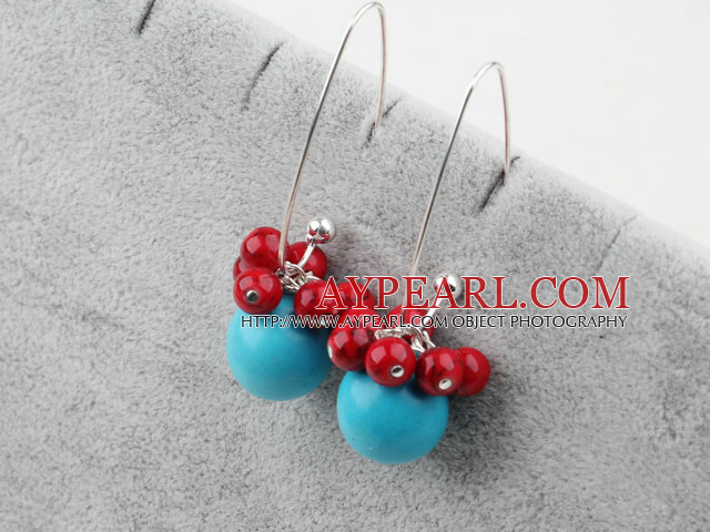 turquoise and red bloodstone earrings