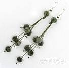Fashion Long Style Hand Threaded Flat Round Green Lace Stone Earrings With Fish Hook