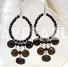 Fashion Black Crystal Hoop Smoky Quartz Dangle Earrings With Fish Hook