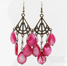Wholesale Vintage Style Drop Shape Hot Pink Shell Earrings