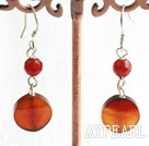 6*14Mm Simple Style Agate Dangle Earrings With Fish Hook