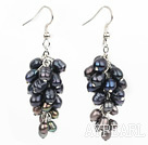 Wholesale 4-8 black pearl cluster earrings