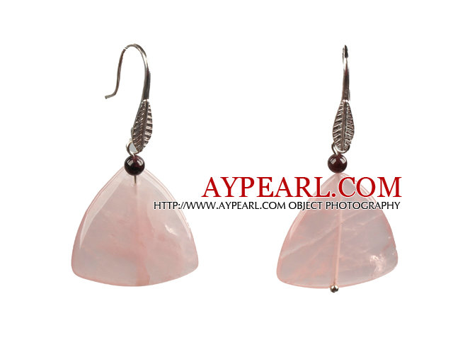 Lovely Fashion Style Triangular Rose Quartz Dangle Earrings