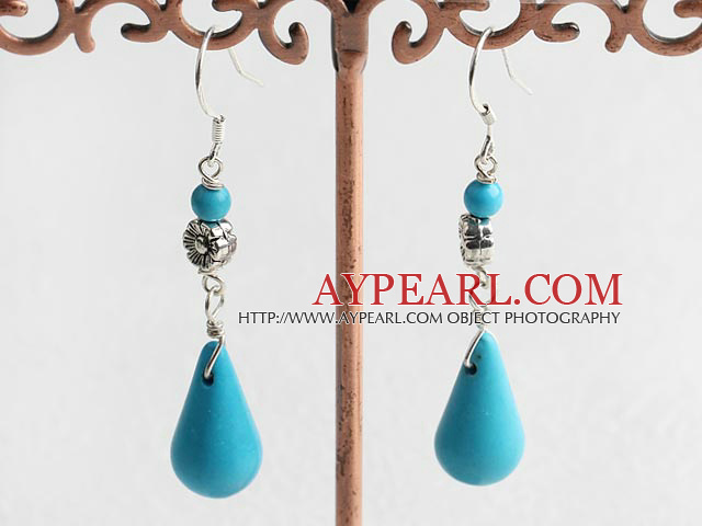 Fashion Teardrop Blue Turquoise With Flower Charm Dangle Earrings