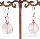 Lovely Caky Shape Rose Quartz And Pink Crystal Dangle Earrings With Fish Hook