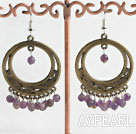 Large Diameter Vintage Amethyst Bronze Metal Hoop Earrings With Fish Hook