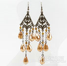Wholesale Vintage Style Golden Champagne Color Drop Shape Crystal Earrings