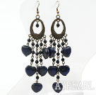 Wholesale Black Agate and Heart Shape Lapis Earrings Long Earrings