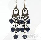 Wholesale Black Agate and Heart Shape Lapis Earrings Long Earrings
