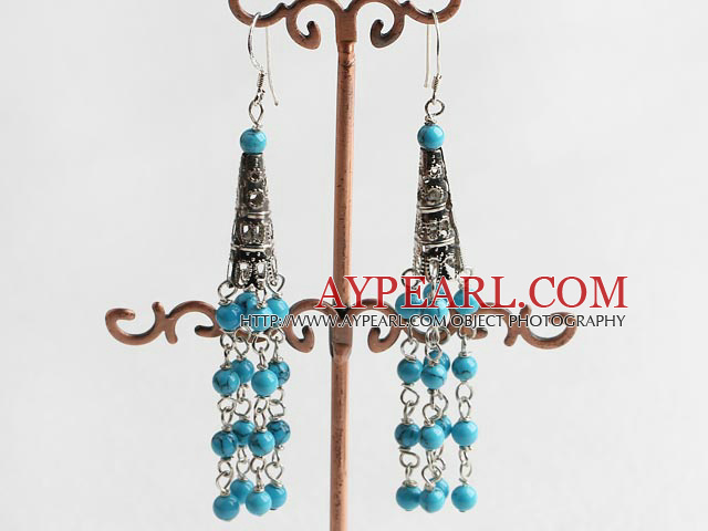 Fashion Blue Turquoise Beaded Cap Charm Link Dangle Earrings With Fish Hook