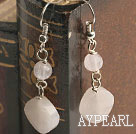 Fashion Caky And Round Rose Quartz Silver Metal Bead Dangle Earrings
