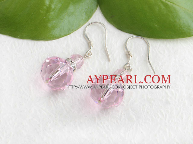 Lovely Short Pink Czech Crystal Dangle Earrings With Fish Hook