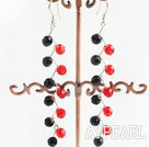 Lovely Manmade Red And Black Wired Crystal Dangle Earrings With Fish Hook