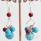 Fashion Round Blue Turquoise And Red Bloodstone Loop Dangle Earrings With Fish Hook